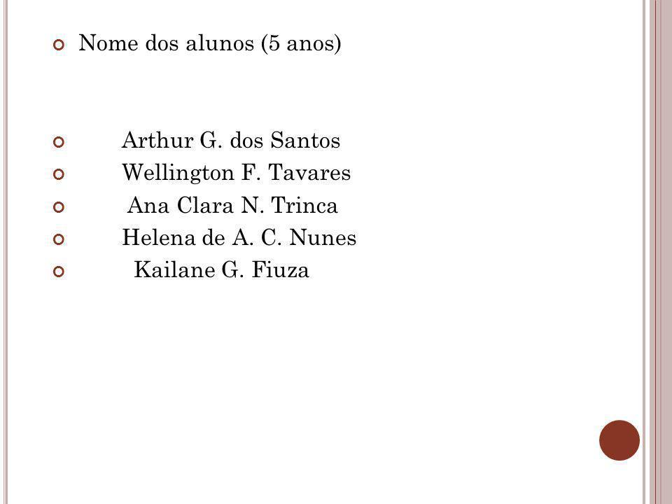 Nome dos alunos (5 anos) Arthur G. dos Santos. Wellington F. Tavares. Ana Clara N. Trinca. Helena de A. C. Nunes.