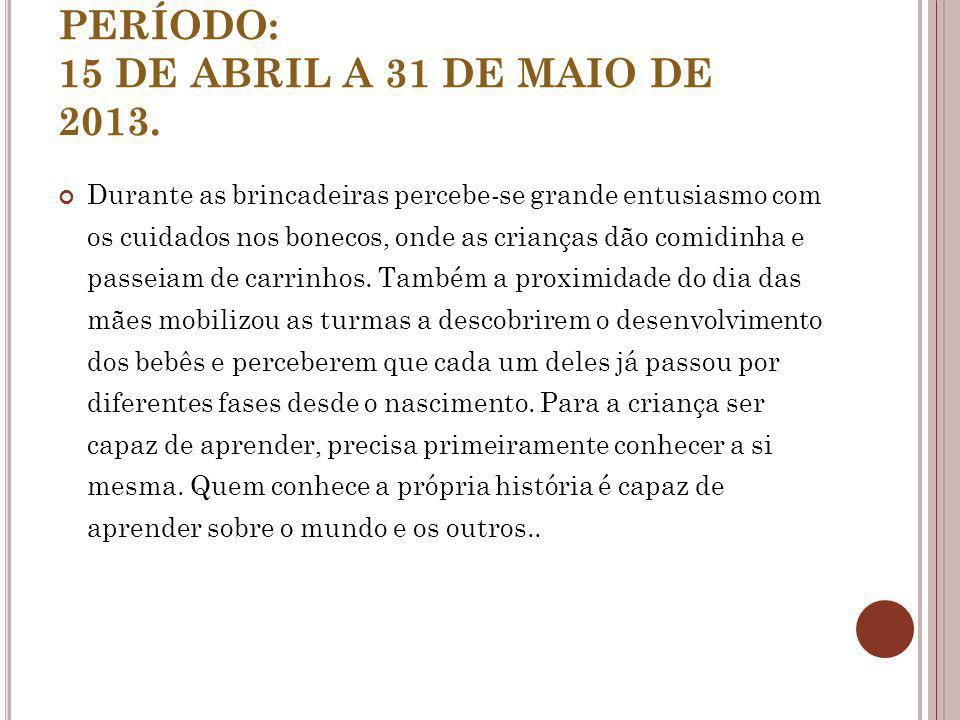 PERÍODO: 15 DE ABRIL A 31 DE MAIO DE 2013.