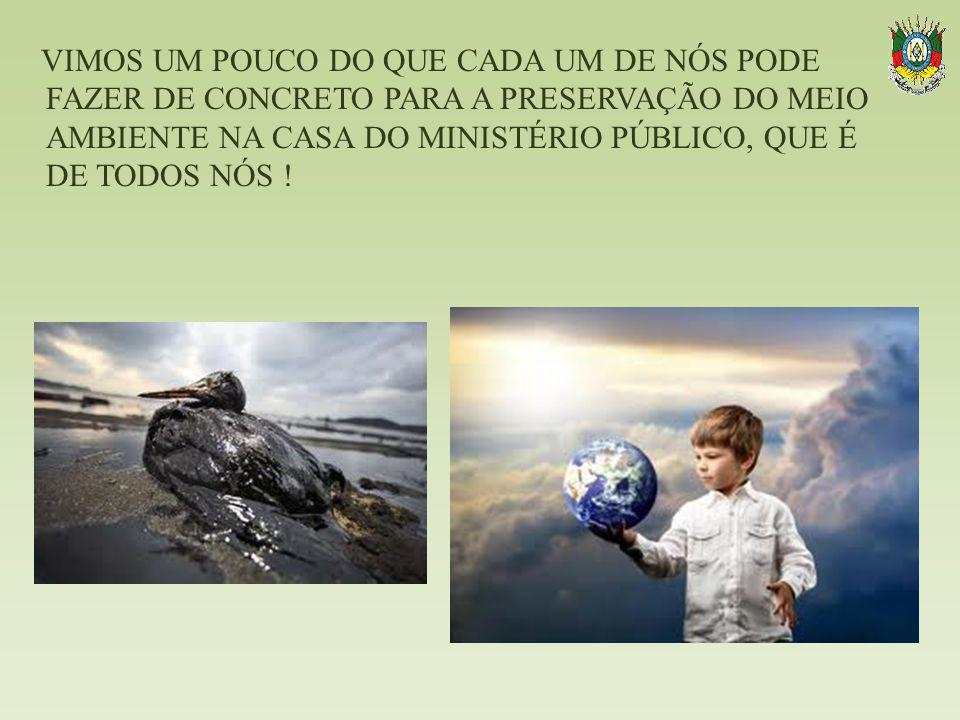 VIMOS UM POUCO DO QUE CADA UM DE NÓS PODE FAZER DE CONCRETO PARA A PRESERVAÇÃO DO MEIO AMBIENTE NA CASA DO MINISTÉRIO PÚBLICO, QUE É DE TODOS NÓS !