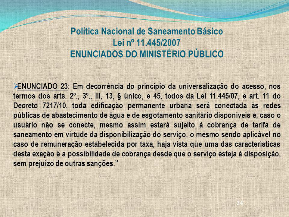 Política Nacional de Saneamento Básico Lei nº 11.445/2007