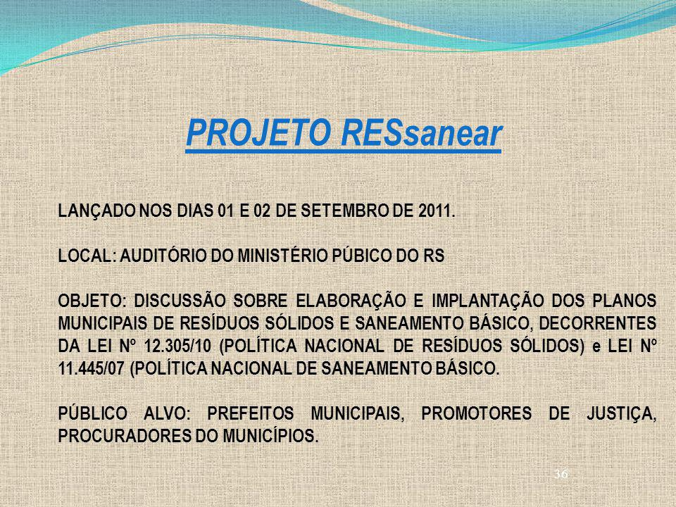 PROJETO RESsanear LANÇADO NOS DIAS 01 E 02 DE SETEMBRO DE 2011.