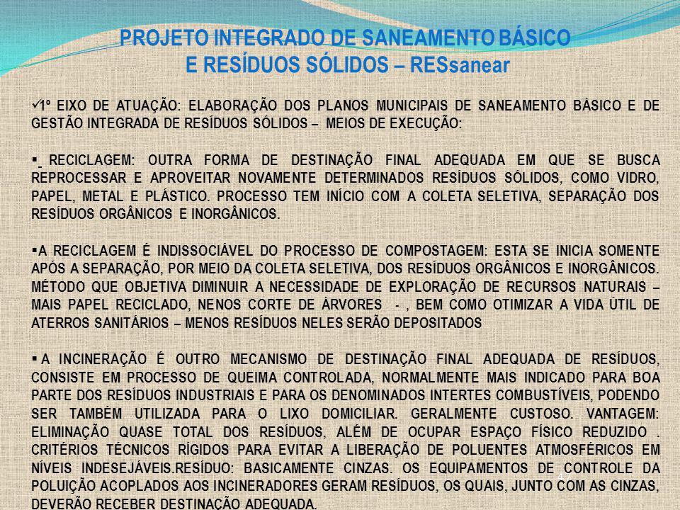 PROJETO INTEGRADO DE SANEAMENTO BÁSICO E RESÍDUOS SÓLIDOS – RESsanear