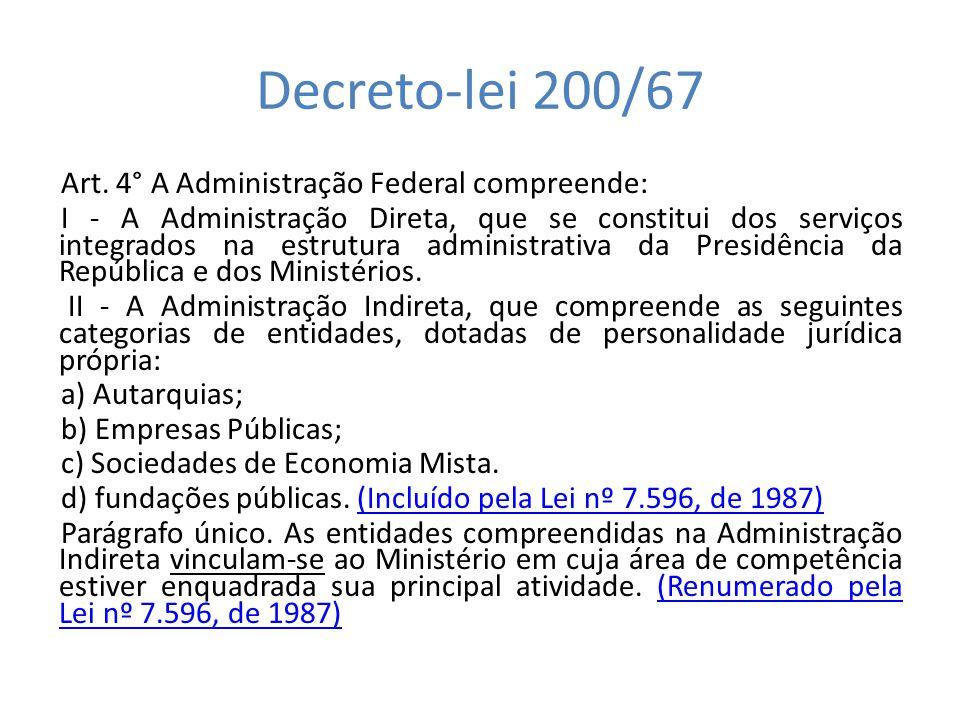 Decreto-lei 200/67 Art. 4° A Administração Federal compreende: