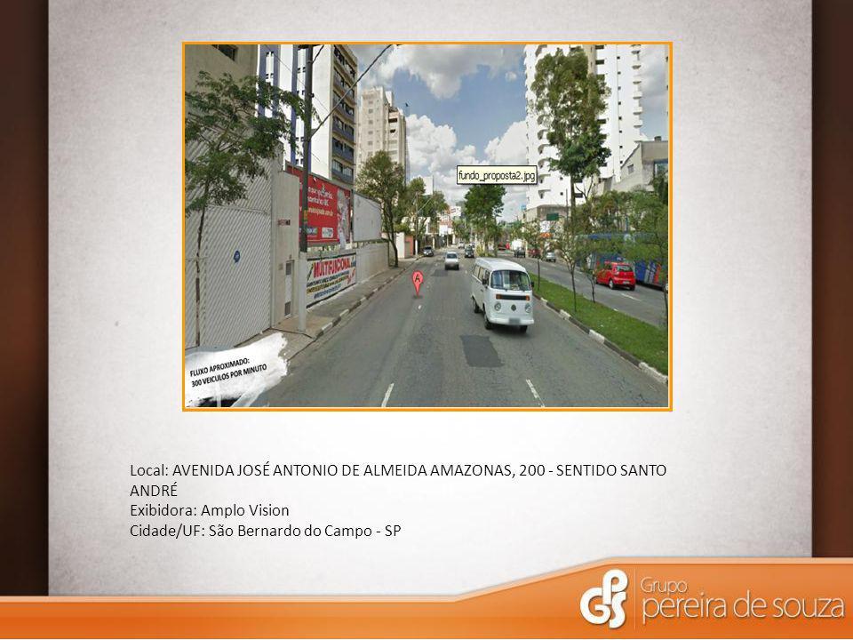 Local: AVENIDA JOSÉ ANTONIO DE ALMEIDA AMAZONAS, 200 - SENTIDO SANTO ANDRÉ