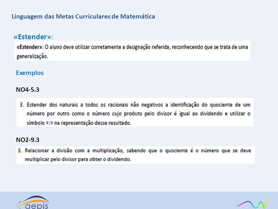 «Estender»: Linguagem das Metas Curriculares de Matemática Exemplos