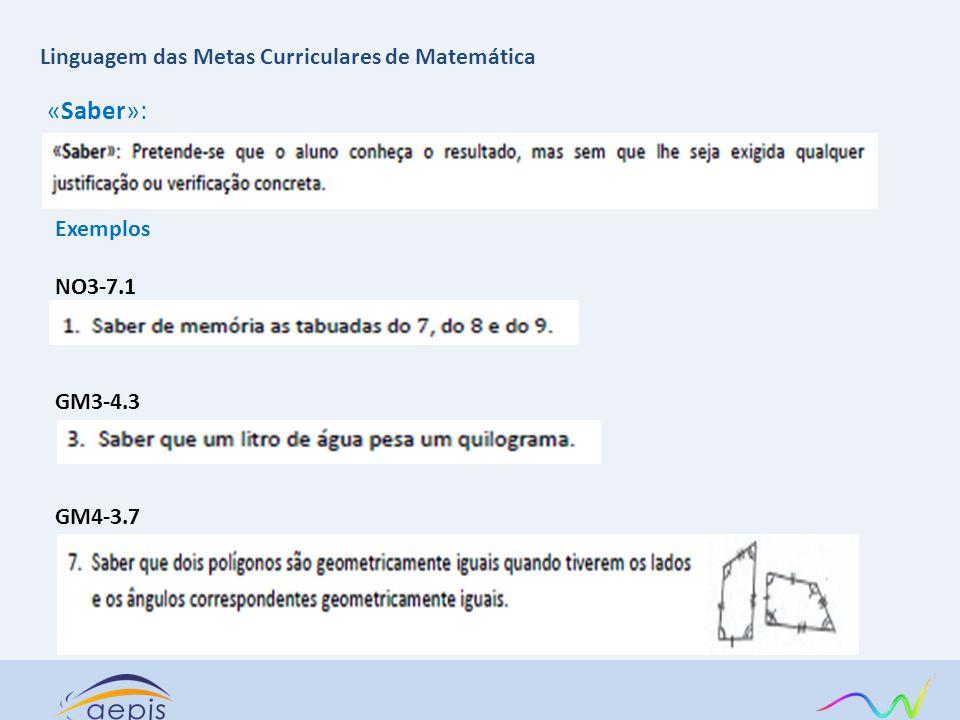 «Saber»: Linguagem das Metas Curriculares de Matemática Exemplos