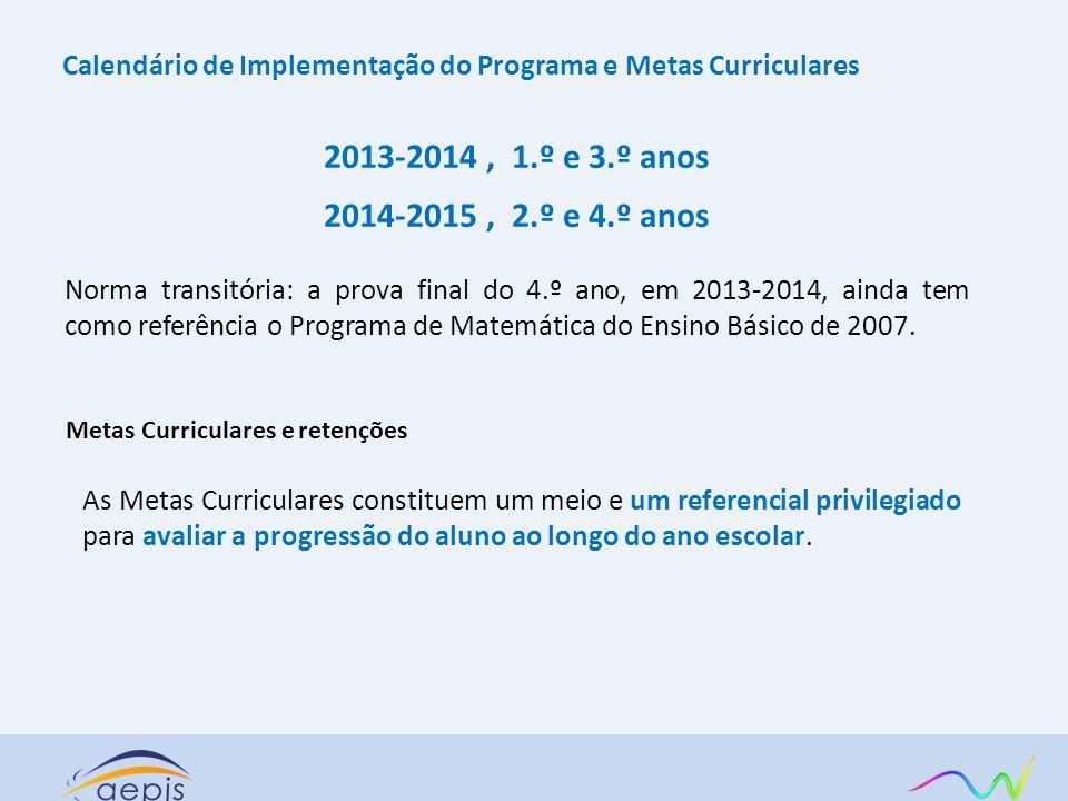 Calendário de Implementação do Programa e Metas Curriculares