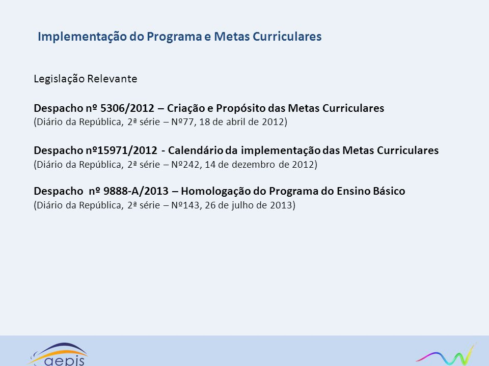 Implementação do Programa e Metas Curriculares