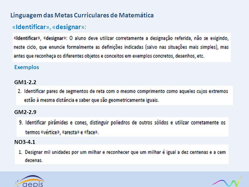 Linguagem das Metas Curriculares de Matemática