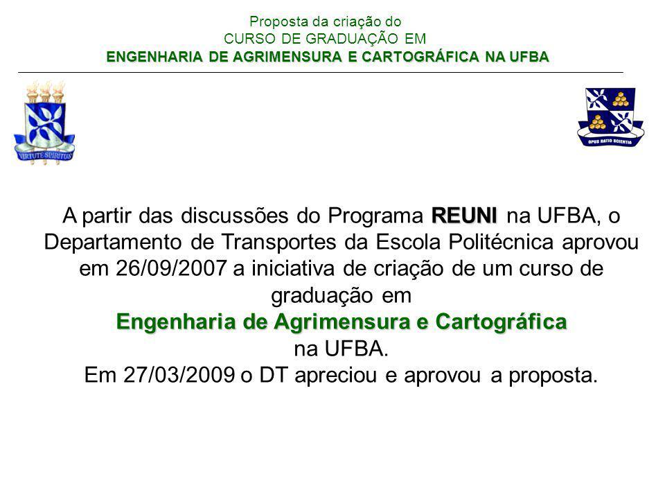 Engenharia de Agrimensura e Cartográfica na UFBA.