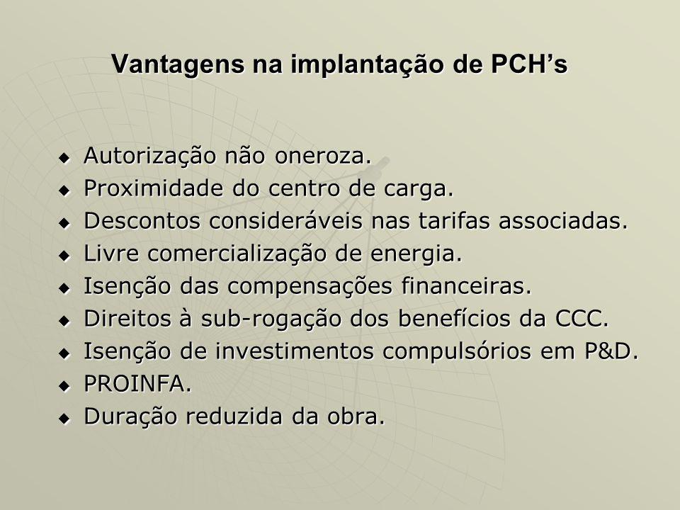 Vantagens na implantação de PCH's