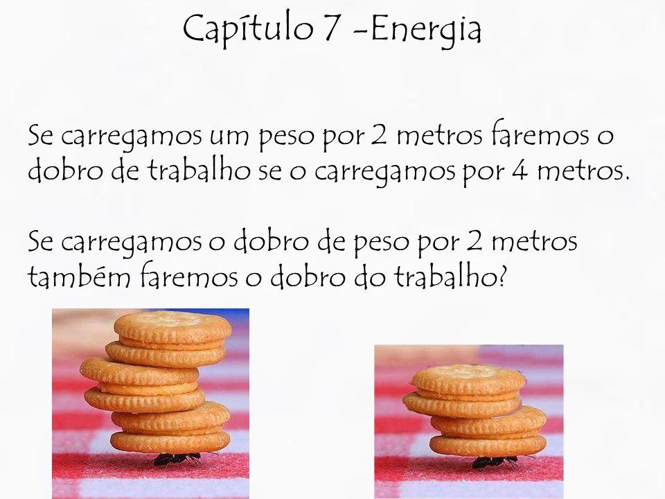 Capítulo 7 -Energia Se carregamos um peso por 2 metros faremos o dobro de trabalho se o carregamos por 4 metros.