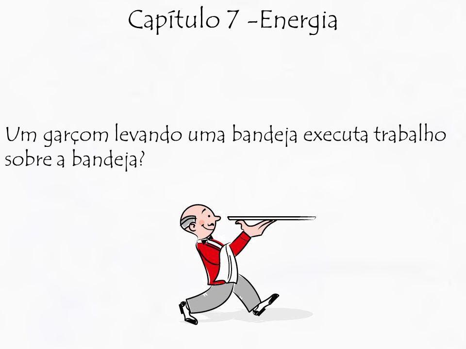 Capítulo 7 -Energia Um garçom levando uma bandeja executa trabalho sobre a bandeja