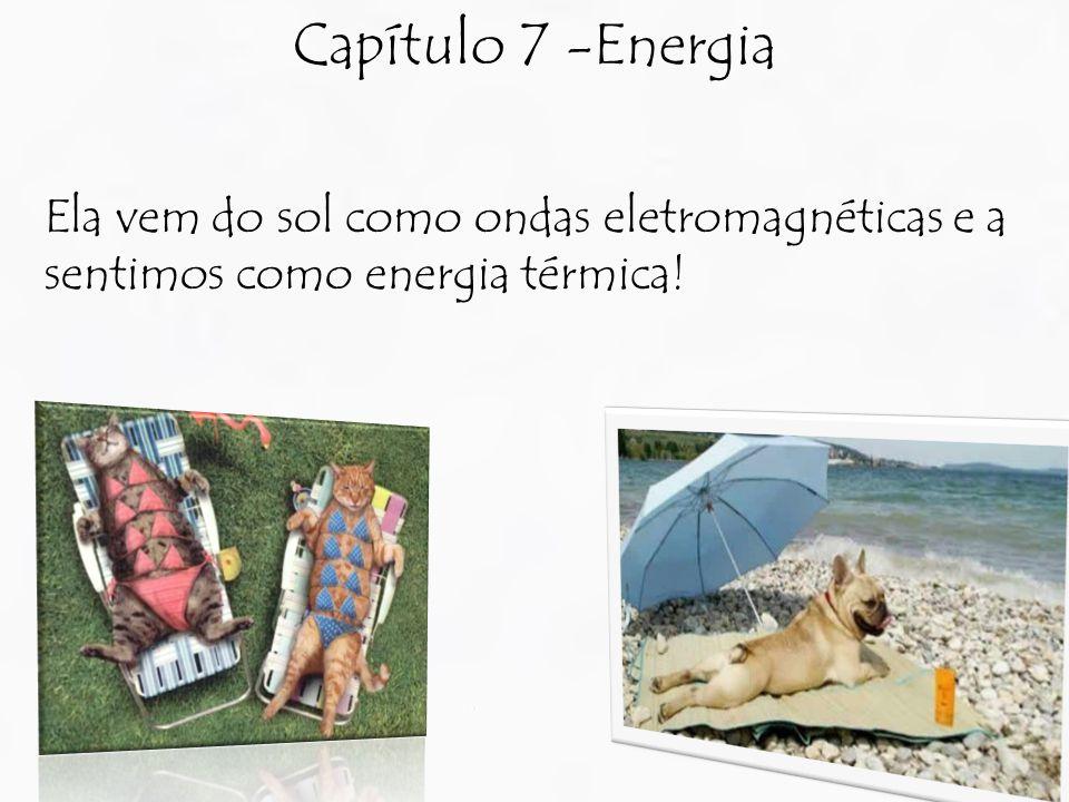 Capítulo 7 -Energia Ela vem do sol como ondas eletromagnéticas e a sentimos como energia térmica!