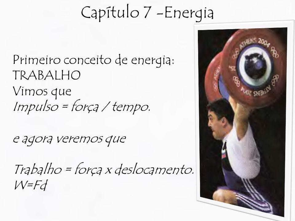 Capítulo 7 -Energia Primeiro conceito de energia: TRABALHO Vimos que