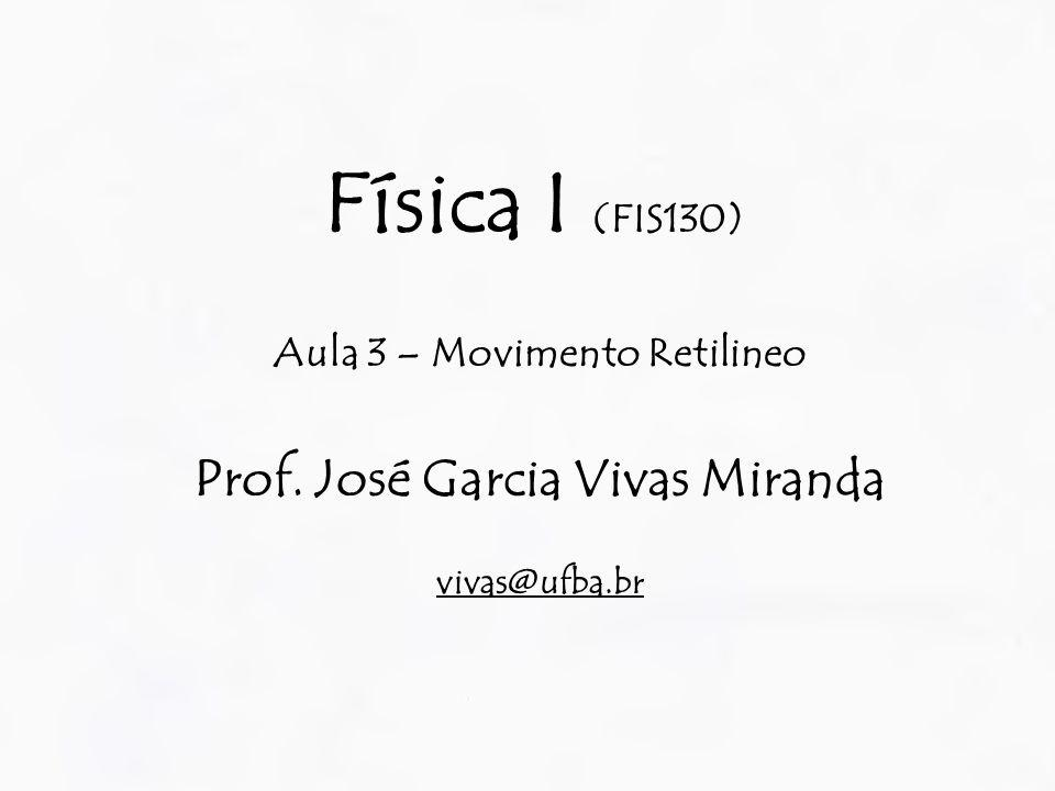 Aula 3 – Movimento Retilineo Prof. José Garcia Vivas Miranda