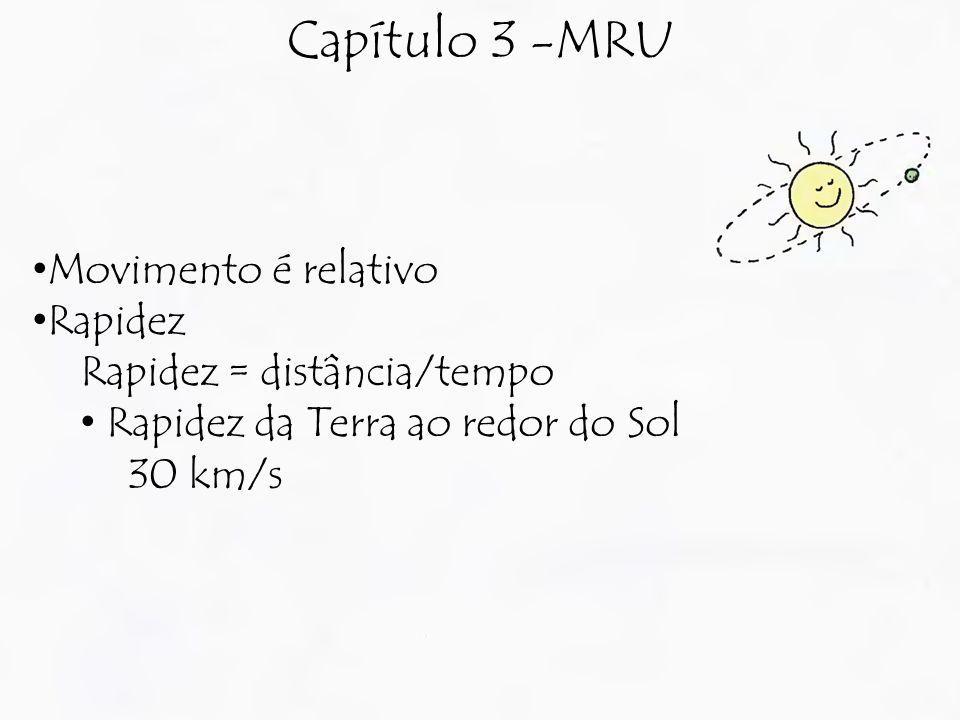 Capítulo 3 -MRU Movimento é relativo Rapidez Rapidez = distância/tempo