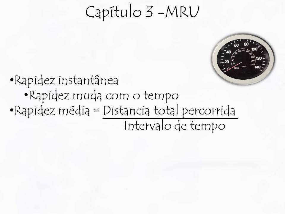Capítulo 3 -MRU Rapidez instantânea Rapidez muda com o tempo