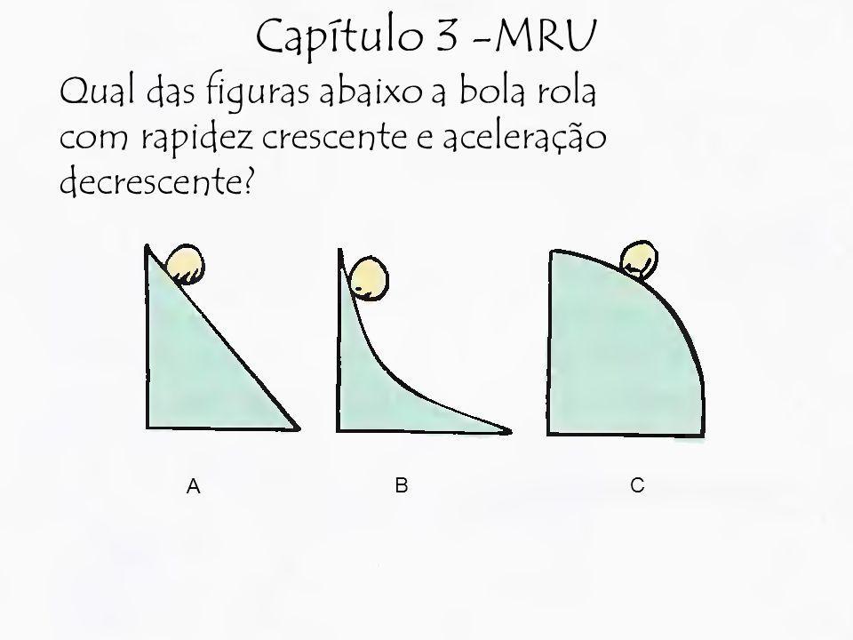 Capítulo 3 -MRU Qual das figuras abaixo a bola rola com rapidez crescente e aceleração decrescente