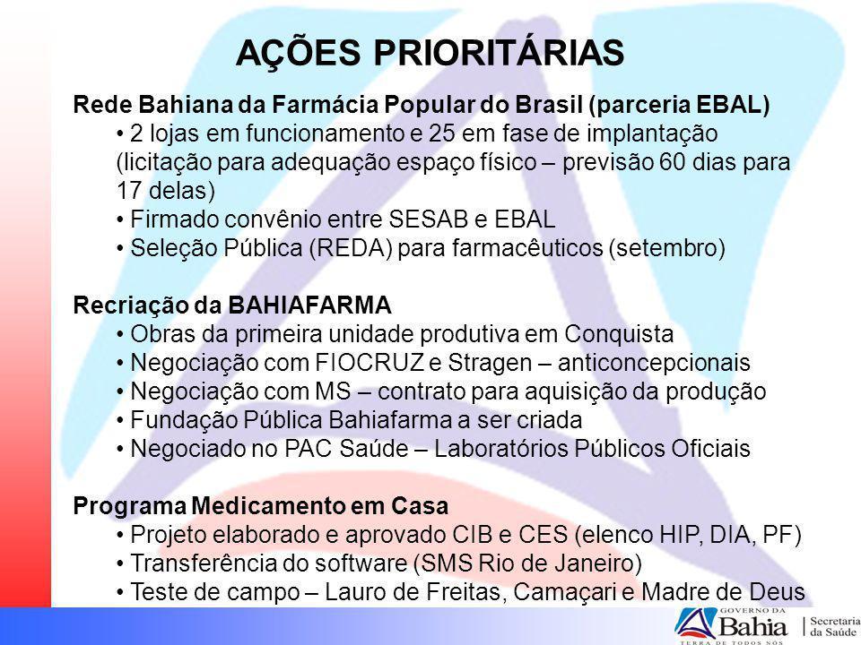 AÇÕES PRIORITÁRIAS Rede Bahiana da Farmácia Popular do Brasil (parceria EBAL)