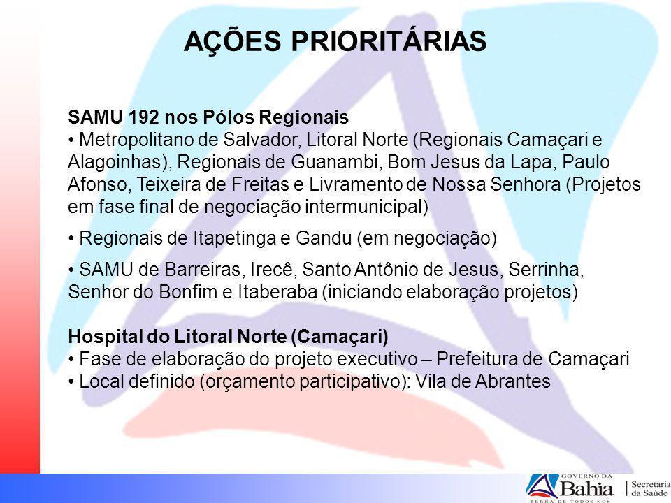 AÇÕES PRIORITÁRIAS SAMU 192 nos Pólos Regionais