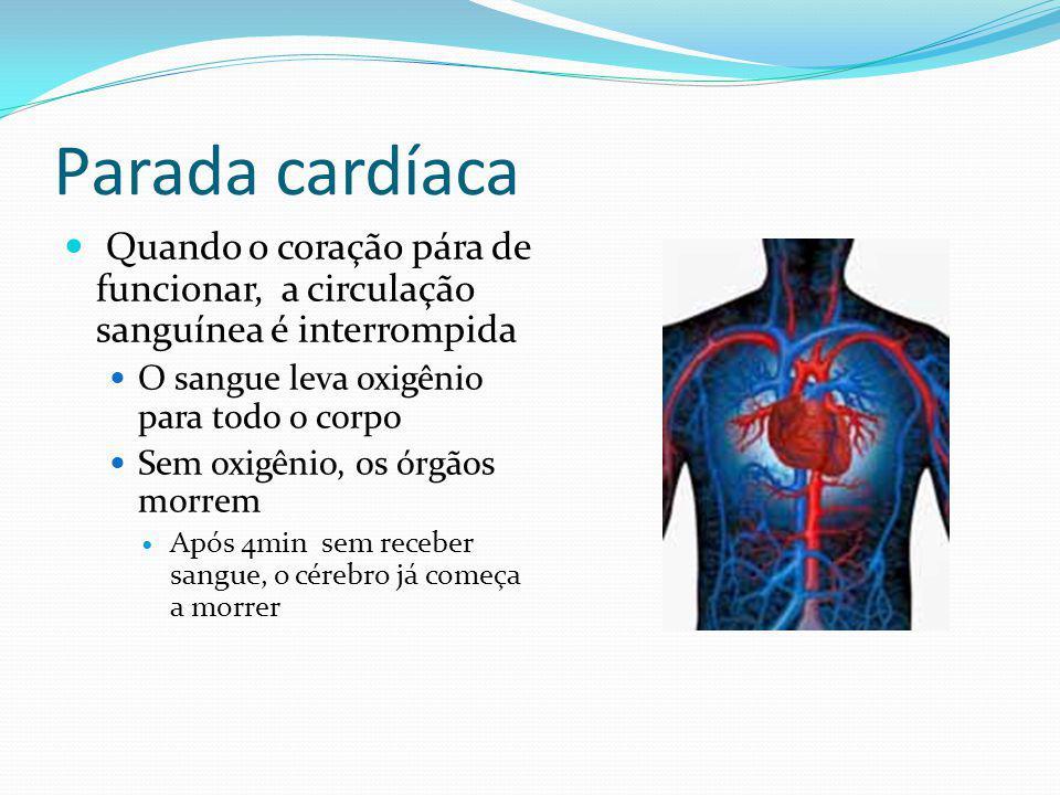 Parada cardíaca Quando o coração pára de funcionar, a circulação sanguínea é interrompida. O sangue leva oxigênio para todo o corpo.