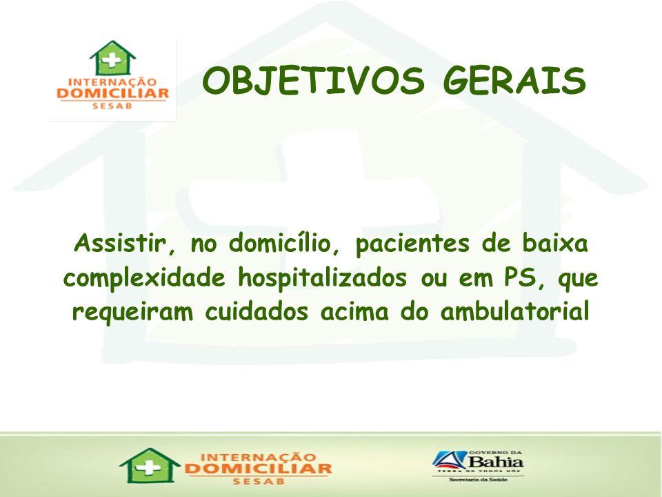 OBJETIVOS GERAIS Assistir, no domicílio, pacientes de baixa