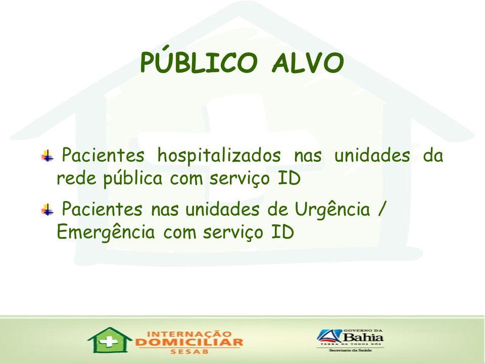 PÚBLICO ALVO Pacientes hospitalizados nas unidades da rede pública com serviço ID.