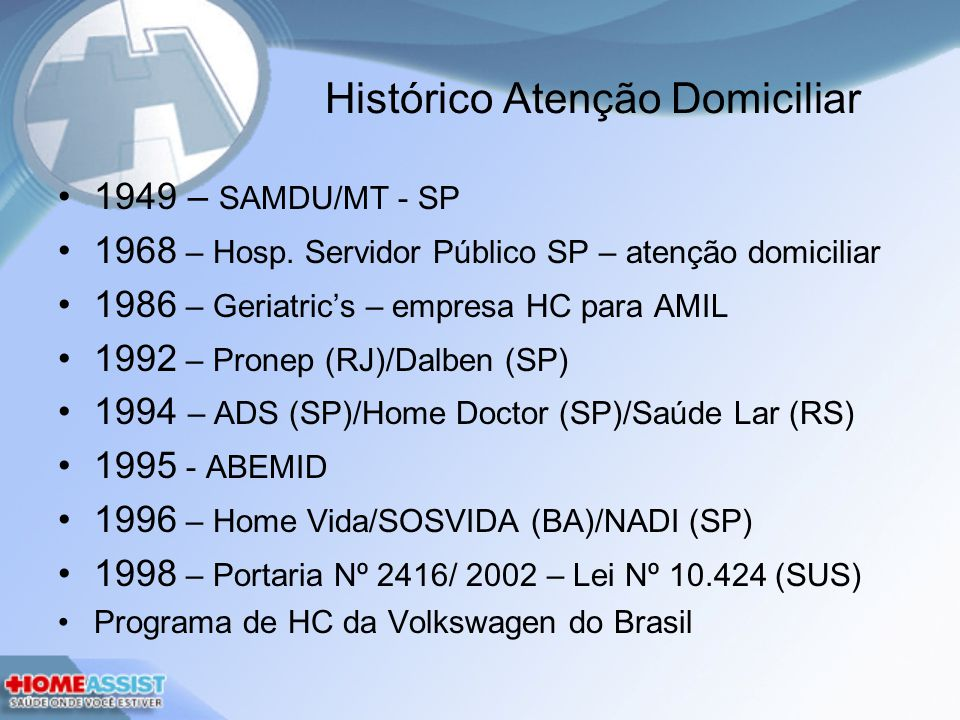 Histórico Atenção Domiciliar