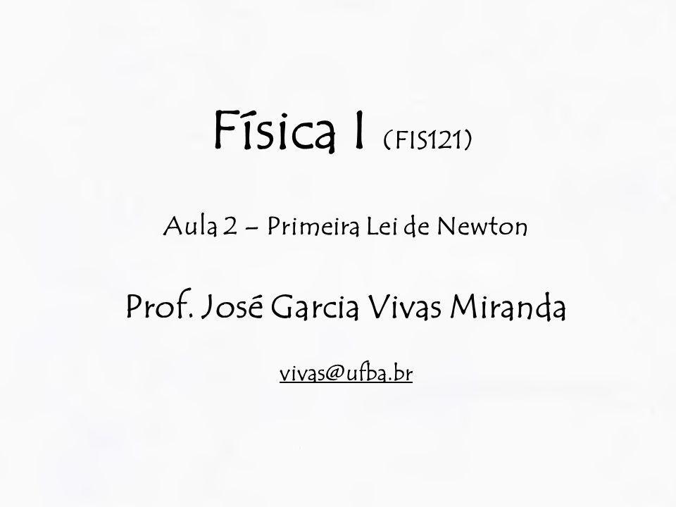 Aula 2 – Primeira Lei de Newton Prof. José Garcia Vivas Miranda
