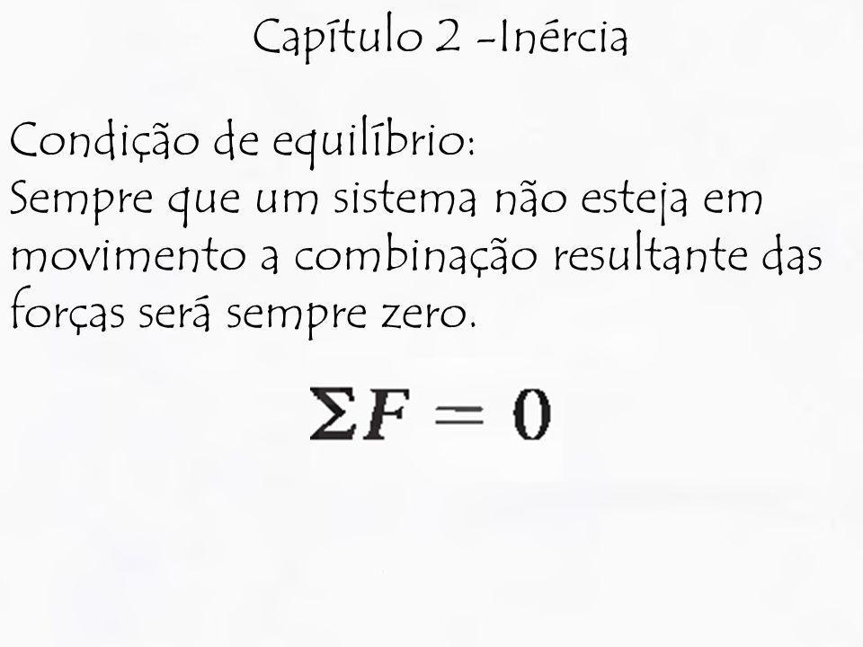 Capítulo 2 -Inércia Condição de equilíbrio: Sempre que um sistema não esteja em movimento a combinação resultante das forças será sempre zero.