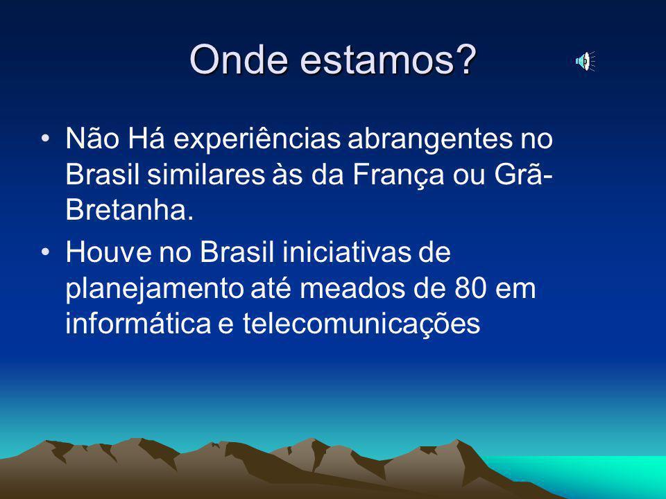 Onde estamos Não Há experiências abrangentes no Brasil similares às da França ou Grã-Bretanha.