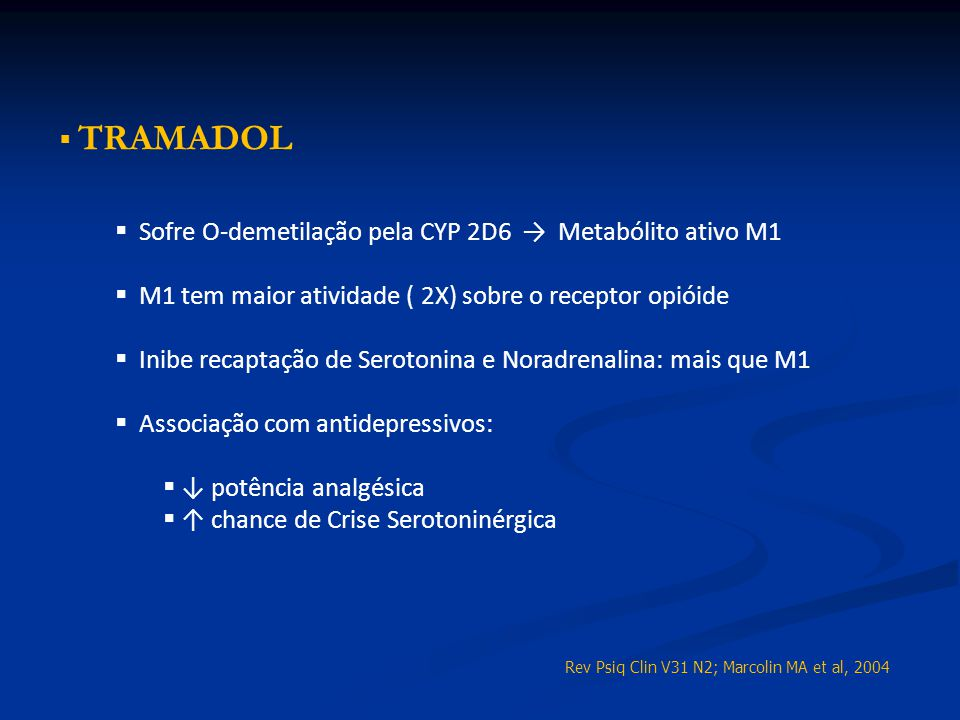 Sofre O-demetilação pela CYP 2D6 → Metabólito ativo M1