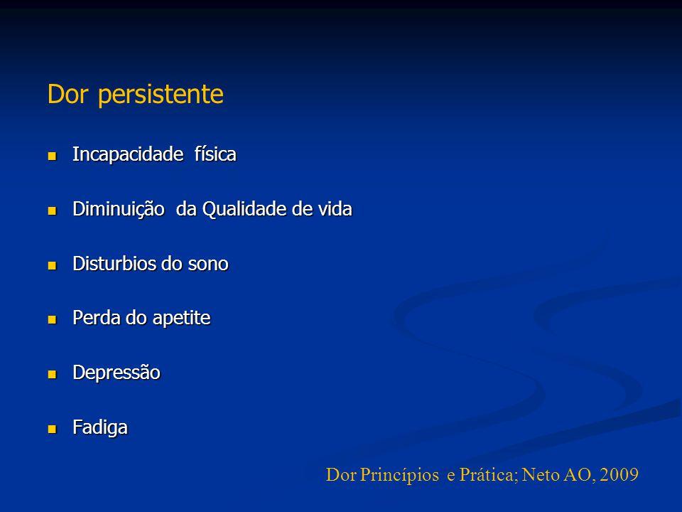 Dor persistente Incapacidade física Diminuição da Qualidade de vida