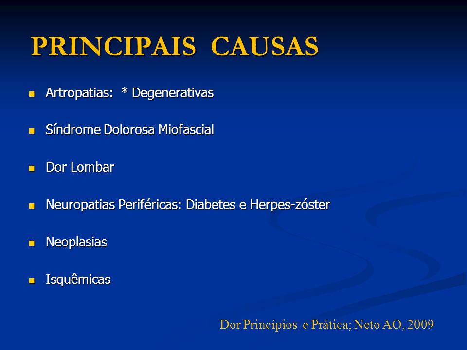 PRINCIPAIS CAUSAS Artropatias: * Degenerativas