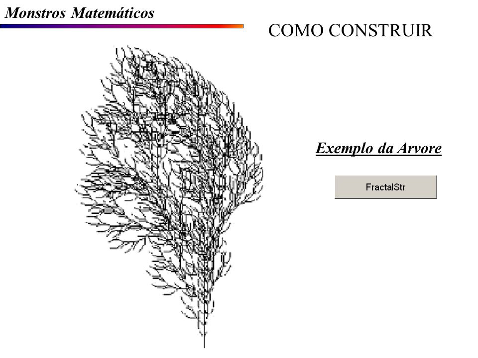 Monstros Matemáticos COMO CONSTRUIR Exemplo da Arvore