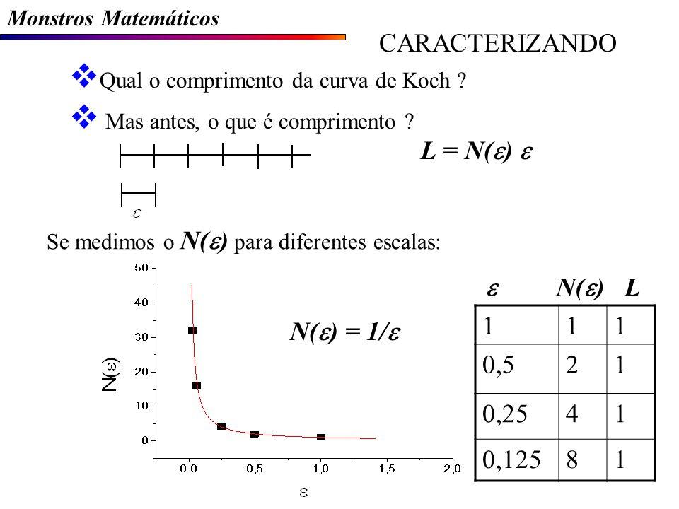 CARACTERIZANDO L = N(e) e e N(e) L 1 0,5 2 0,25 4 0,125 8 N(e) = 1/e