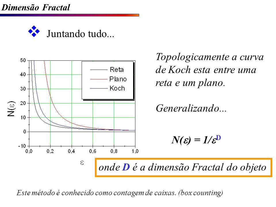 Topologicamente a curva de Koch esta entre uma reta e um plano.