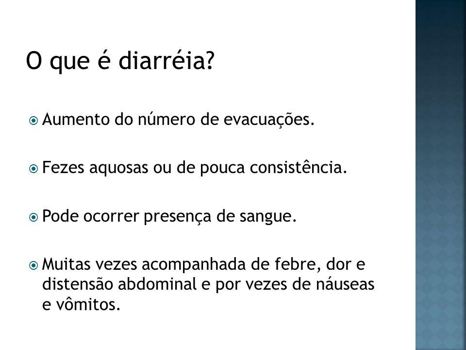 O que é diarréia Aumento do número de evacuações.