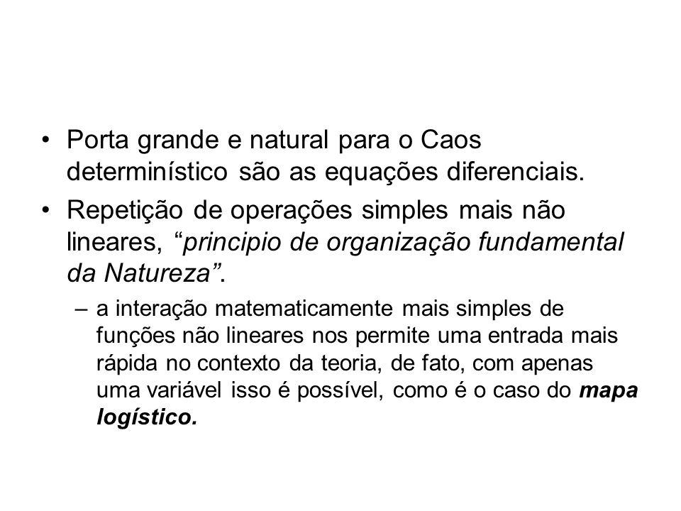 Porta grande e natural para o Caos determinístico são as equações diferenciais.