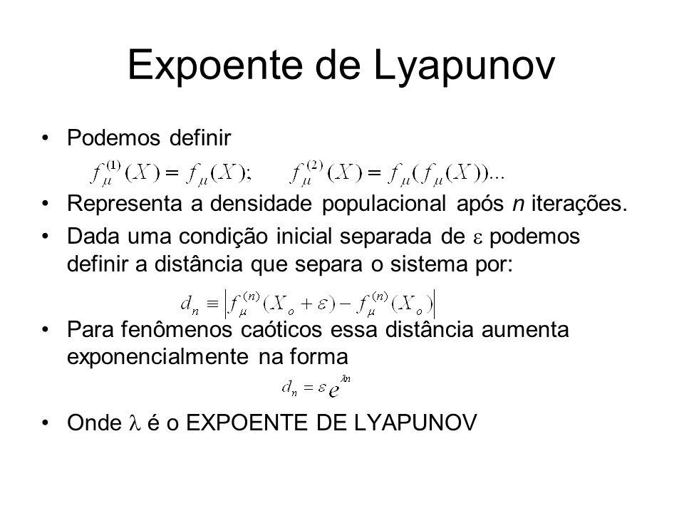 Expoente de Lyapunov Podemos definir