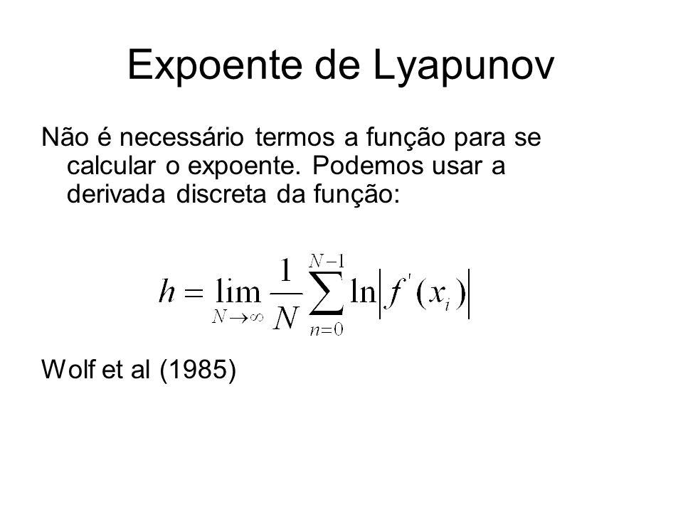 Expoente de Lyapunov Não é necessário termos a função para se calcular o expoente. Podemos usar a derivada discreta da função: