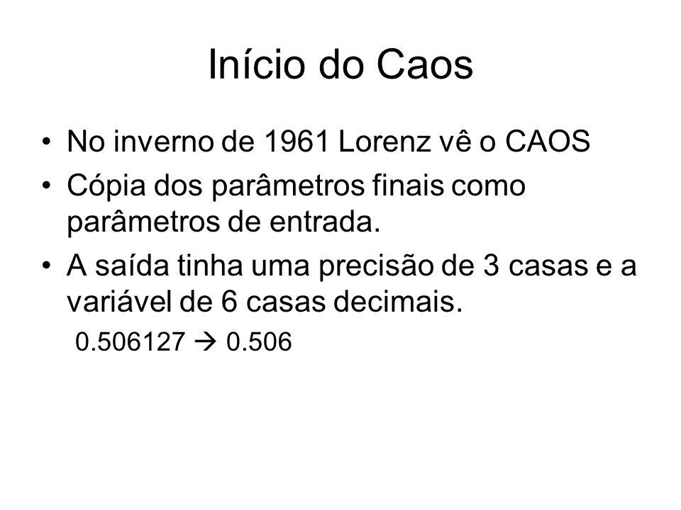 Início do Caos No inverno de 1961 Lorenz vê o CAOS