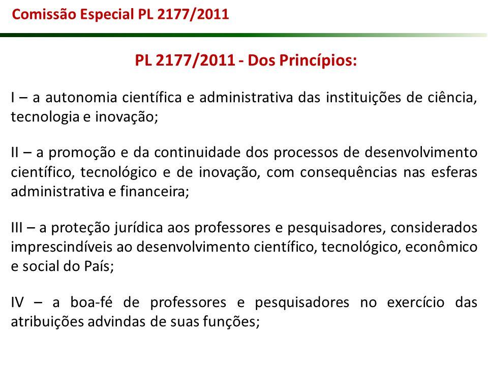 PL 2177/2011 - Dos Princípios: Comissão Especial PL 2177/2011