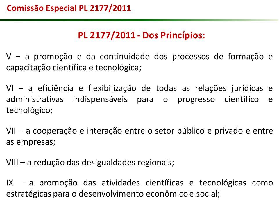 Comissão Especial PL 2177/2011 PL 2177/2011 - Dos Princípios: