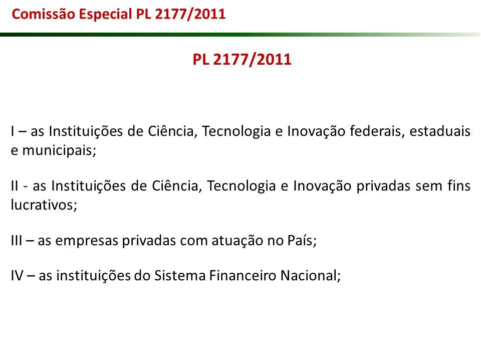 Comissão Especial PL 2177/2011 PL 2177/2011. I – as Instituições de Ciência, Tecnologia e Inovação federais, estaduais e municipais;