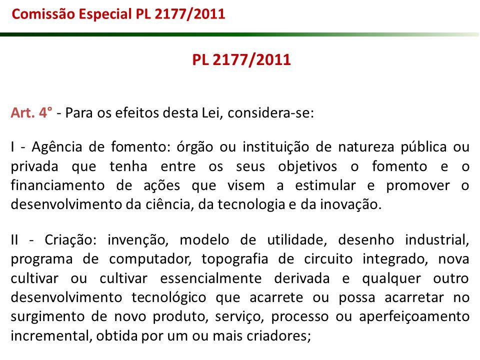 Comissão Especial PL 2177/2011 PL 2177/2011. Art. 4° - Para os efeitos desta Lei, considera-se: