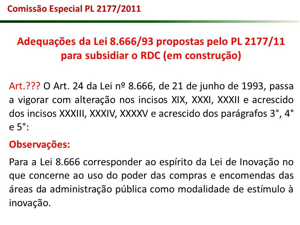 Comissão Especial PL 2177/2011 Adequações da Lei 8.666/93 propostas pelo PL 2177/11 para subsidiar o RDC (em construção)