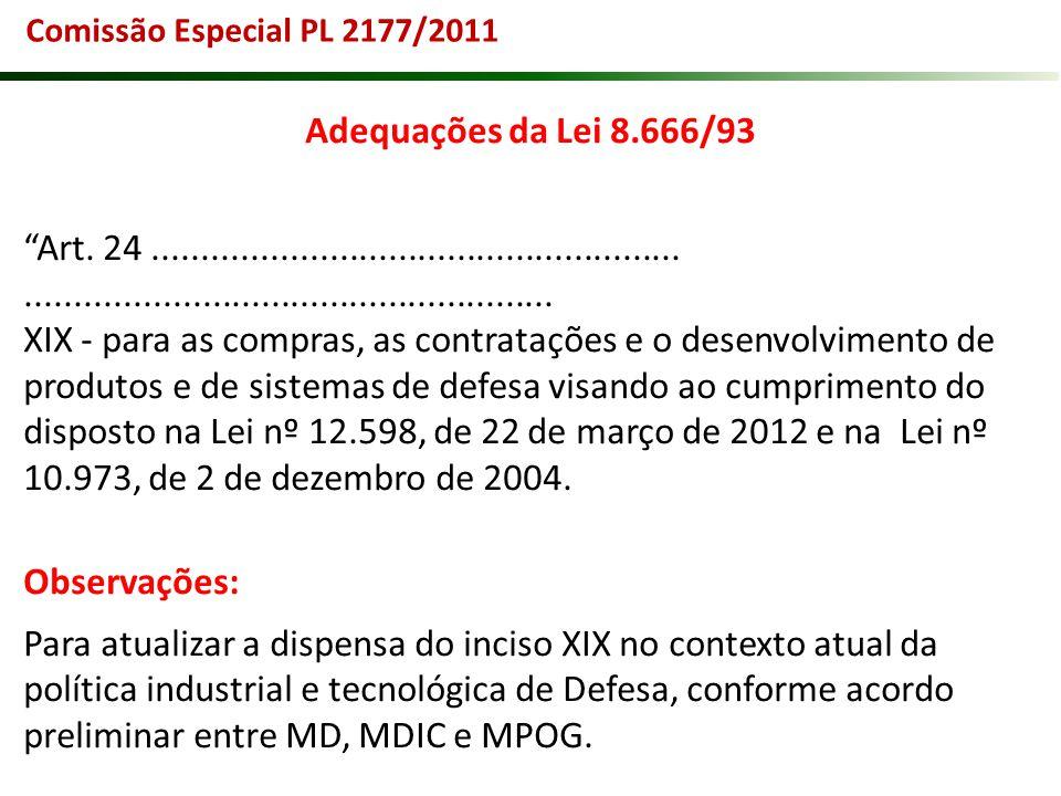 Comissão Especial PL 2177/2011 Adequações da Lei 8.666/93. Art. 24 ......................................................