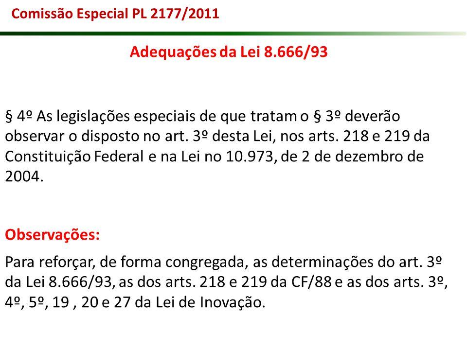 Comissão Especial PL 2177/2011 Adequações da Lei 8.666/93.
